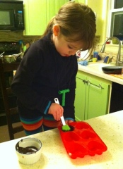 Brushing Chocolate into mold